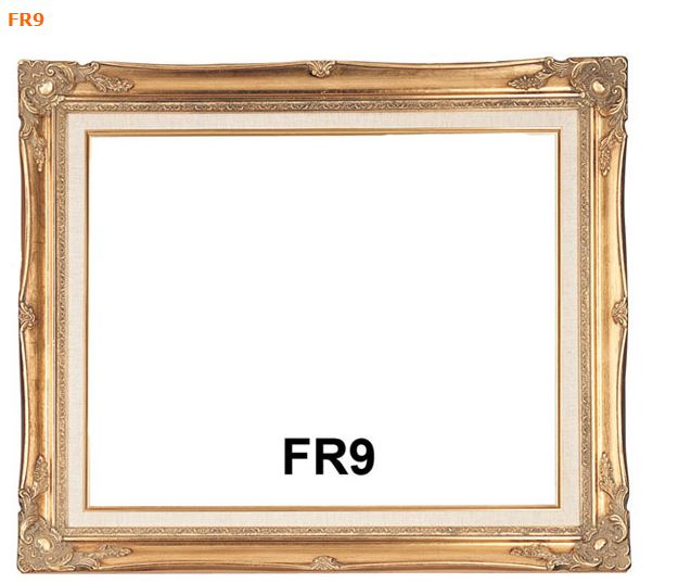FR9 Antique Gold Picture Frame with Linen Liner